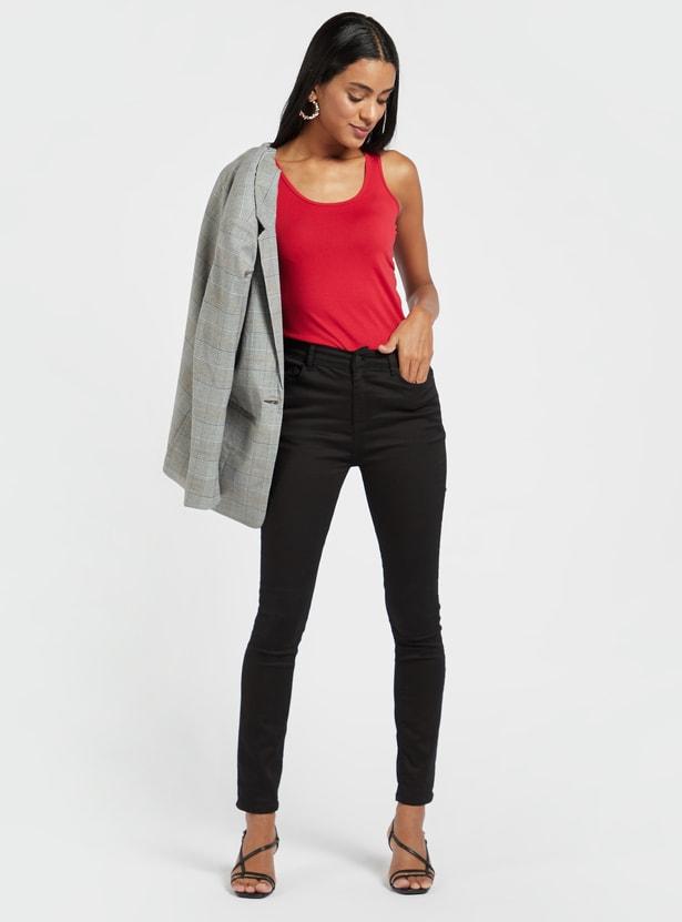 Solid Sleeveless Vest with Scoop Neck