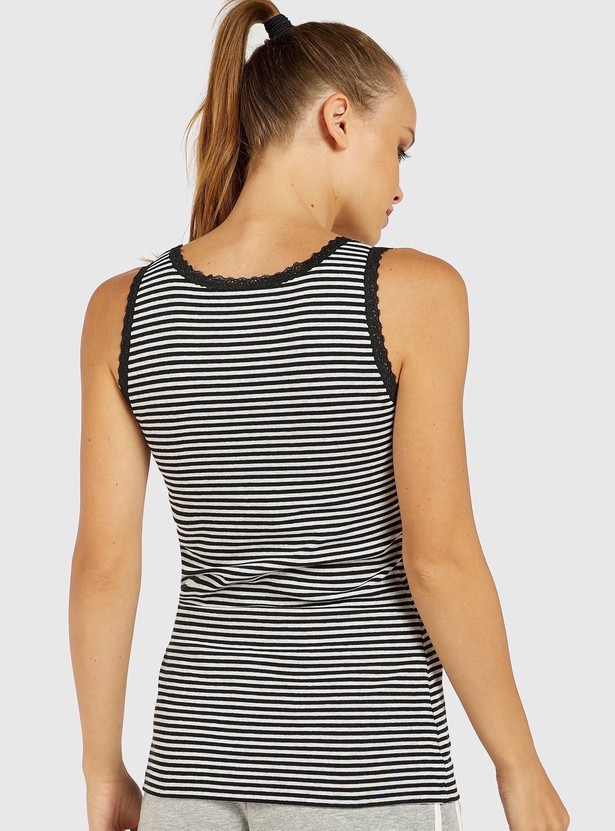 Striped Round Neck Sleeveless Vest with Lace Trim