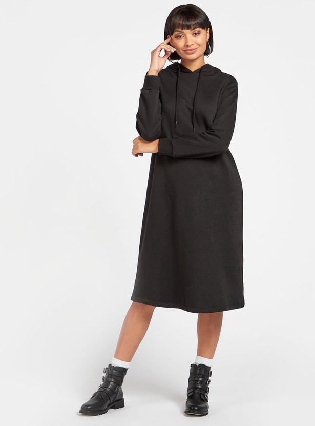 Solid Sweatshirt Dress with Hood and Long Sleeves