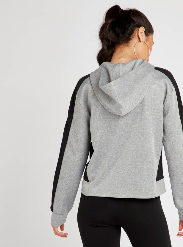 Solid Hooded Neck Jacket with Long Sleeves and Zip Closure