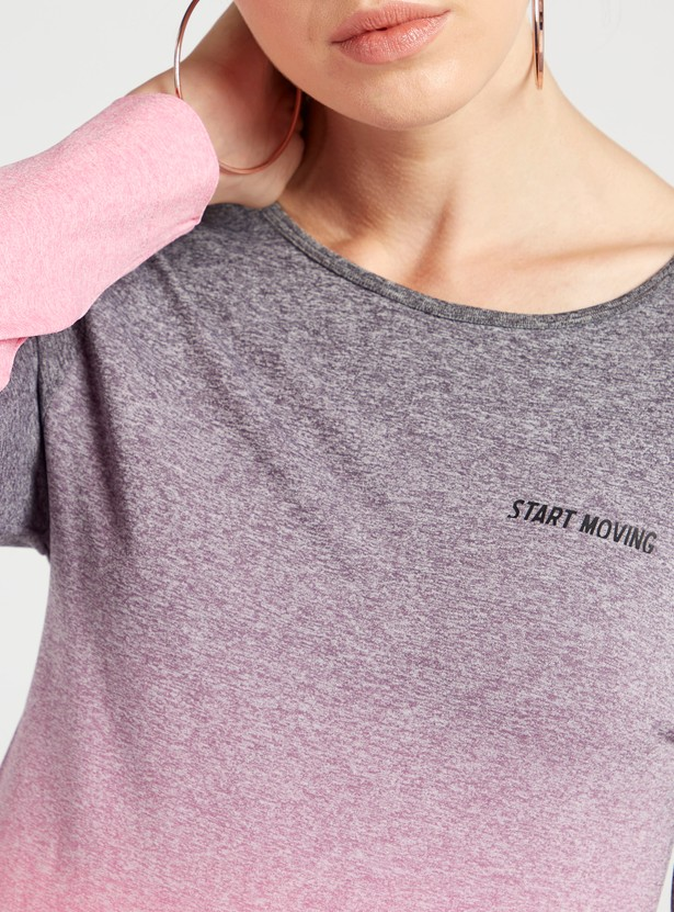 Solid Round Neck T-shirt with Long Sleeves