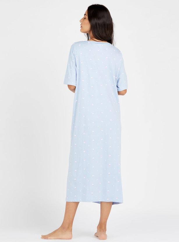 فستان نوم ميدي بياقة مستديرة وأكمام قصيرة وطبعات أزهار