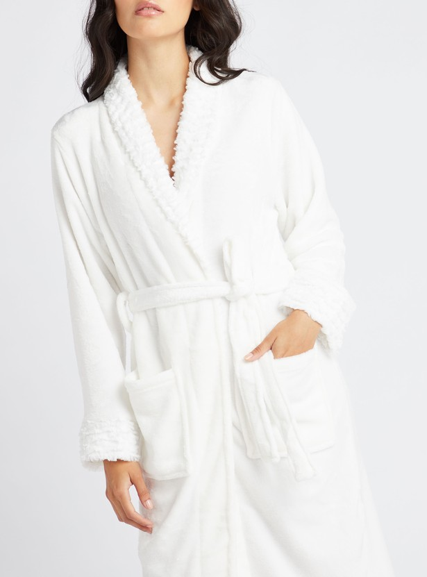 Cozy Collection Plush Bathrobe with Patch Pockets
