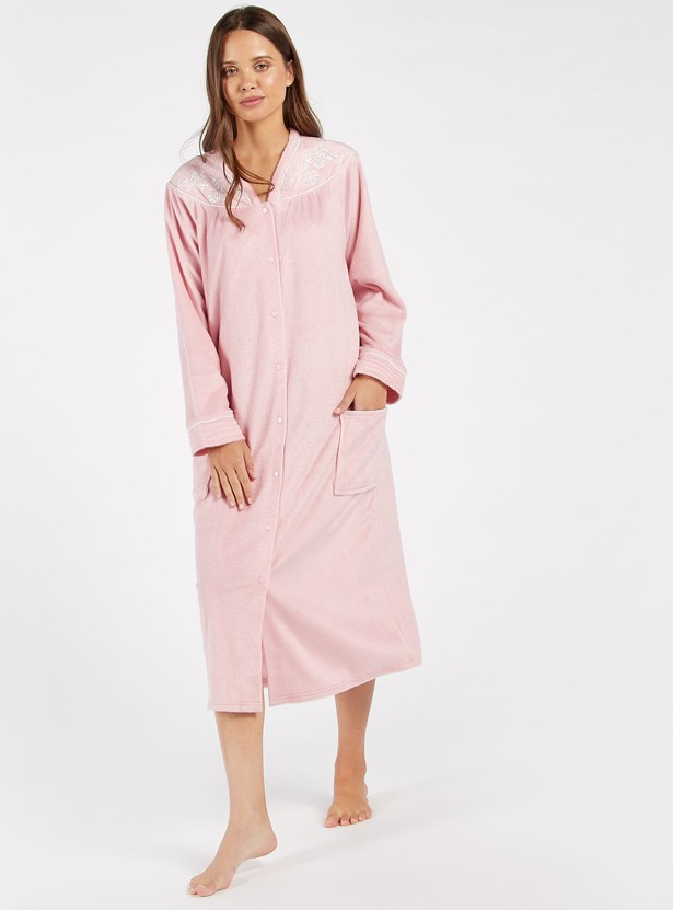 Cozy Collection Textured V-neck Night Gown with Pockets