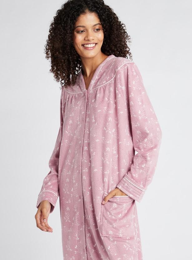 ثوب نوم مطرز بأكمام طويلة وجيوب - تشكيلة كوزي