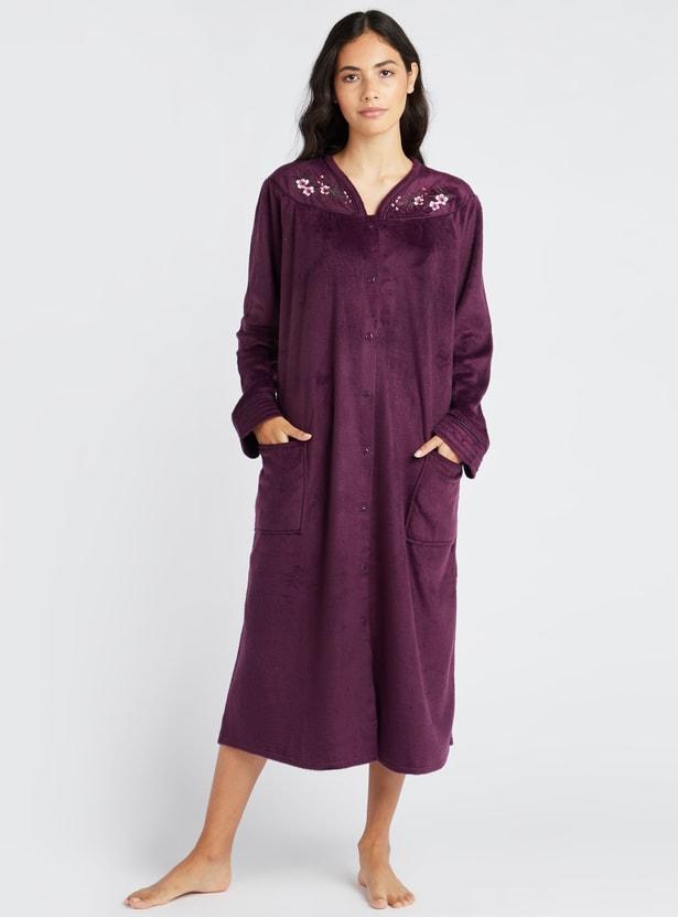 ثوب نوم 3/4 بارز الملمس بأكمام طويلة وجيوب - تشكيلة كوزي