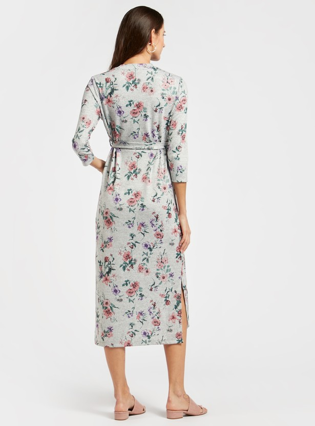 Maternity Floral Print A-line Midi Dress with 3/4 Sleeves and Tie-Ups