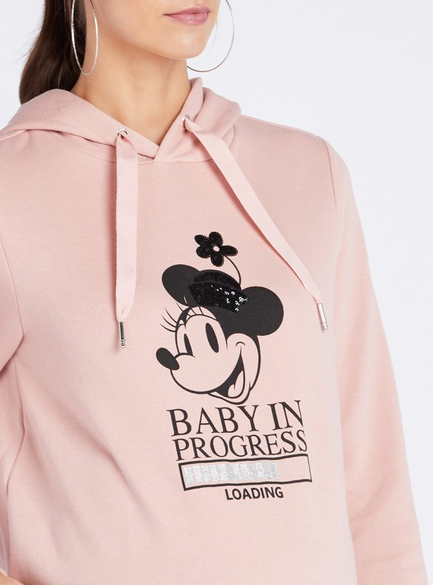 Graphic Print Maternity Hoodie with Long Sleeves
