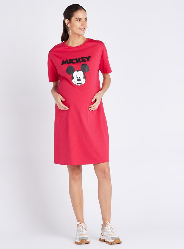Mickey Mouse Print Maternity Shift Dress with Short Sleeves