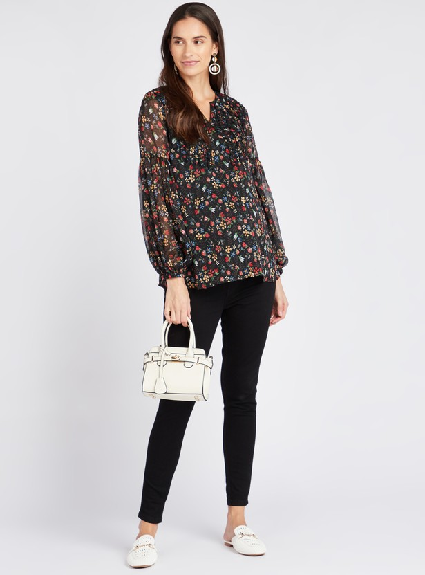 Floral Print V-Neck Maternity Top with Long Sleeves