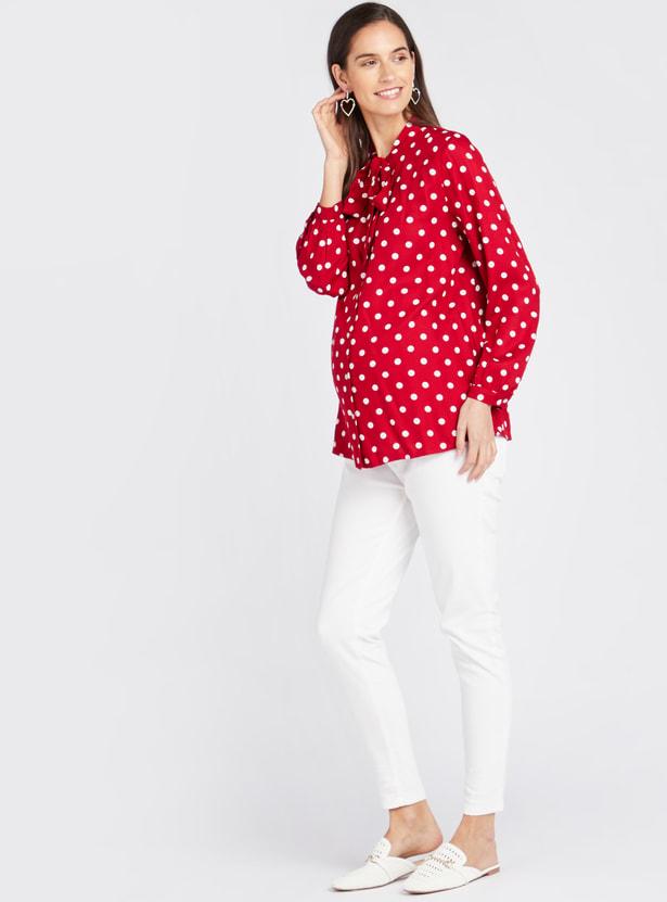 Polka Dot Print Maternity Blouse with Long Sleeves