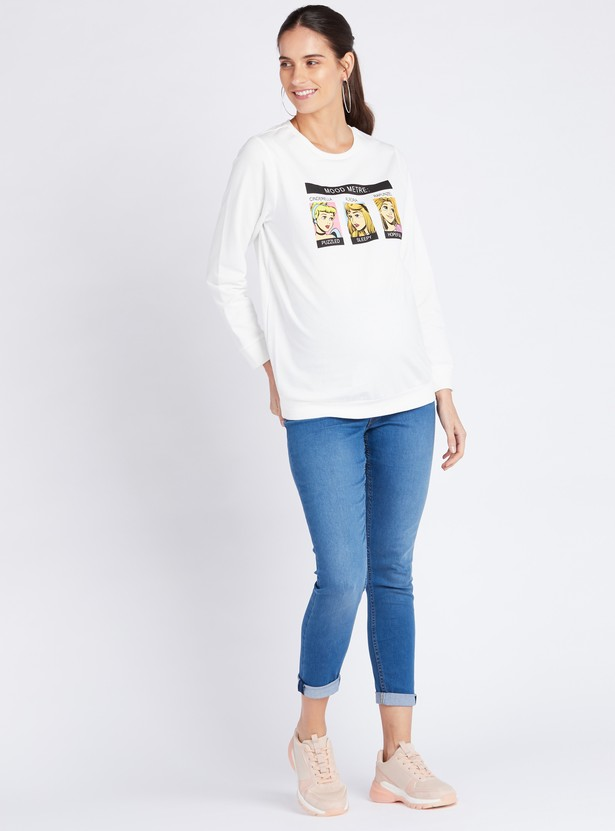 Maternity Print Sweat Top with Long Sleeves