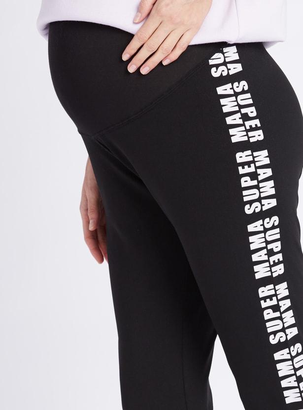 Full Length Printed Maternity Leggings with Elasticised Waistband