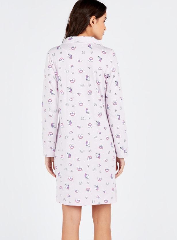 Printed Sleepshirt with Spread Collar and Long Sleeves