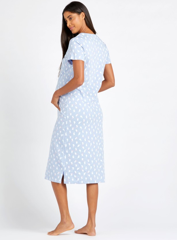 Maternity All Over Print Sleepdress with Short Sleeves