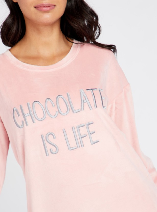 Cozy Collection Embroidered Round Neck Sleepshirt with Long Sleeves