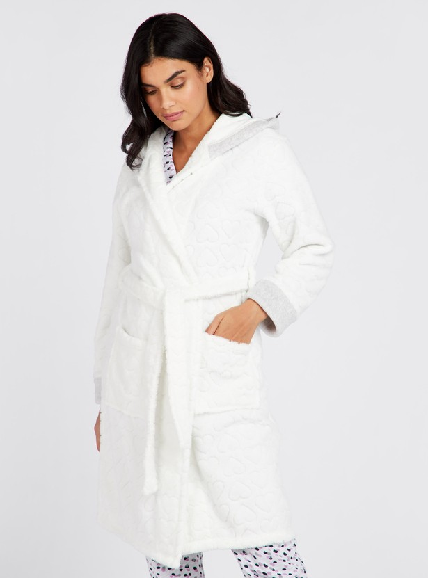 Cozy Collection Textured Wrap-Collared Robe with Front Tie-Up