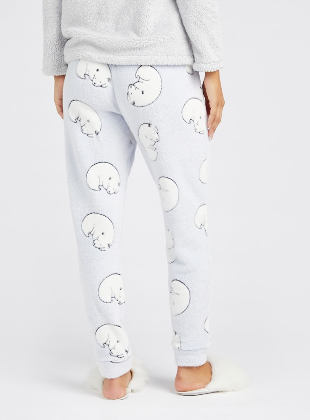 Cozy Collection Plush Detail T-shirt and Full Length Pyjama Set