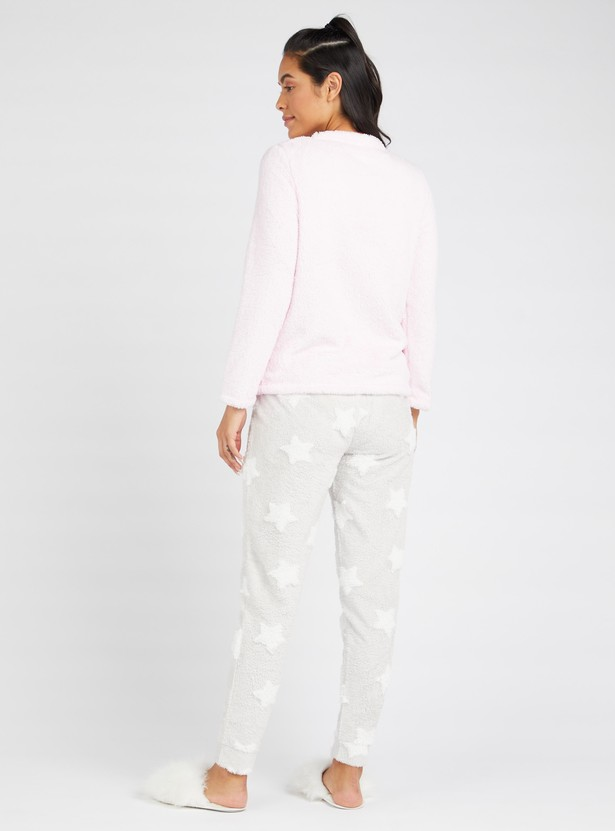 Cozy Collection Unicorn Print Plush Detail T-shirt and Pyjama Set