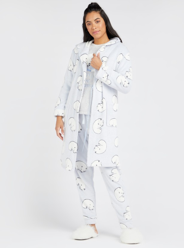 Cozy Collection Printed Plush Detail Hooded Robe with Long Sleeves