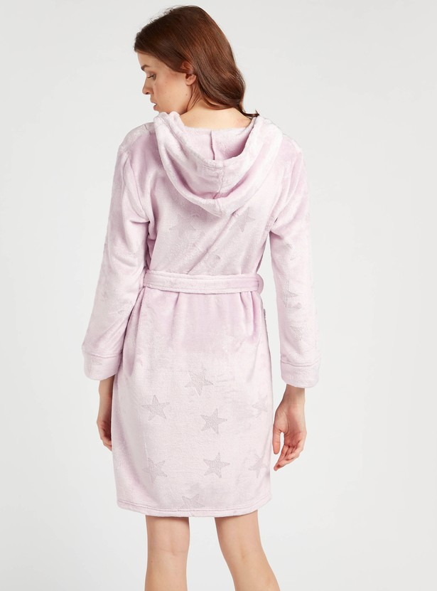 Cozy Collection Star Hooded Robe with Patch Pockets and Tie-Ups