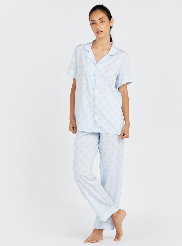 Polka Dot Print Short Sleeves Shirt and Full Length Pyjama Set