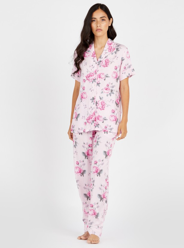 Floral Print Short Sleeves Shirt and Full Length Pyjama Set