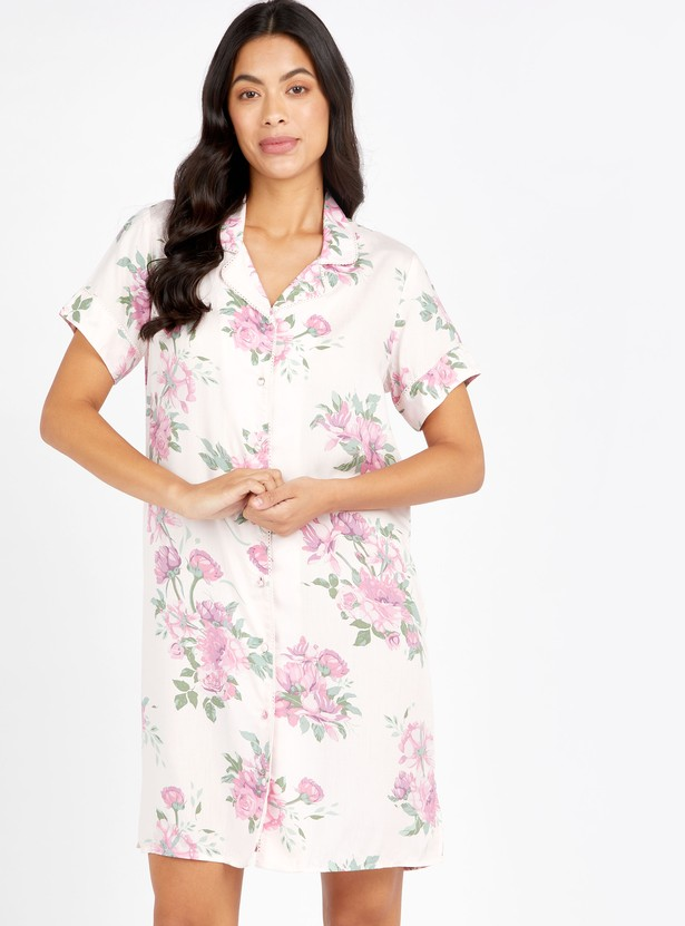Floral Print Sleepshirt with Short Sleeves