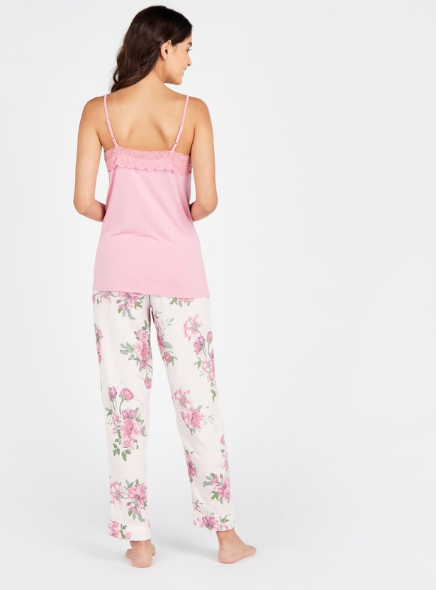 Solid V-neck Spaghetti Top with Printed Full Length Pyjamas Set