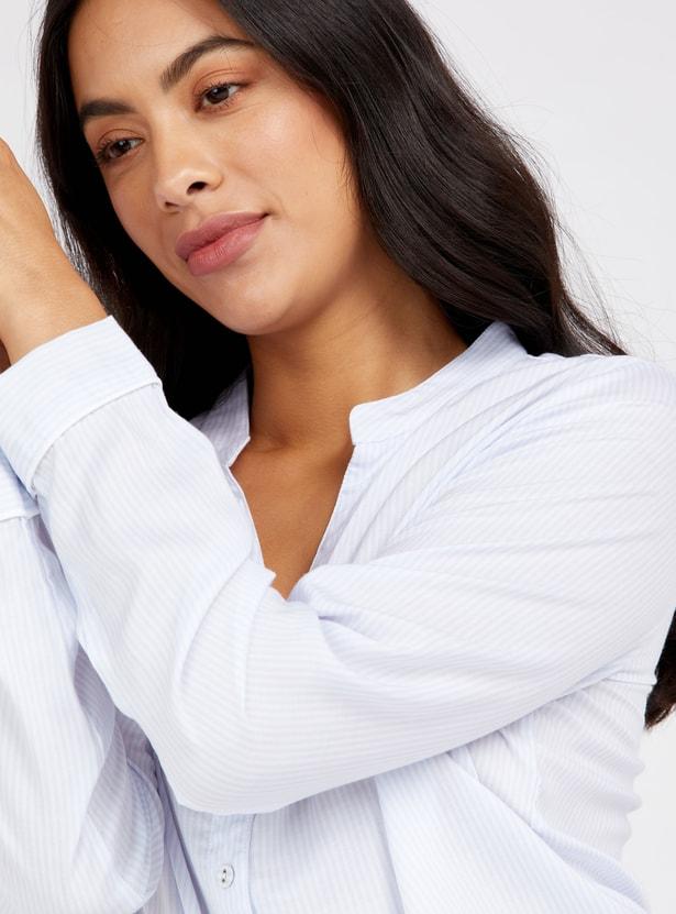 قميص نوم مخطط بأكمام طويلة وياقة عادية