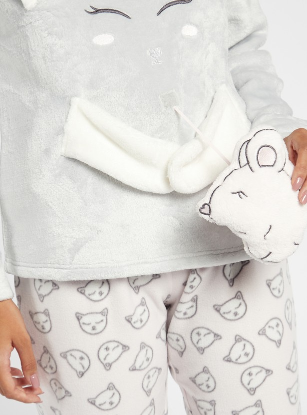 Cozy Collection Feline Themed T-shirt and Printed Pyjama Set