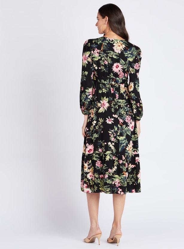 Maternity Floral Print A-line Wrap Midi Dress