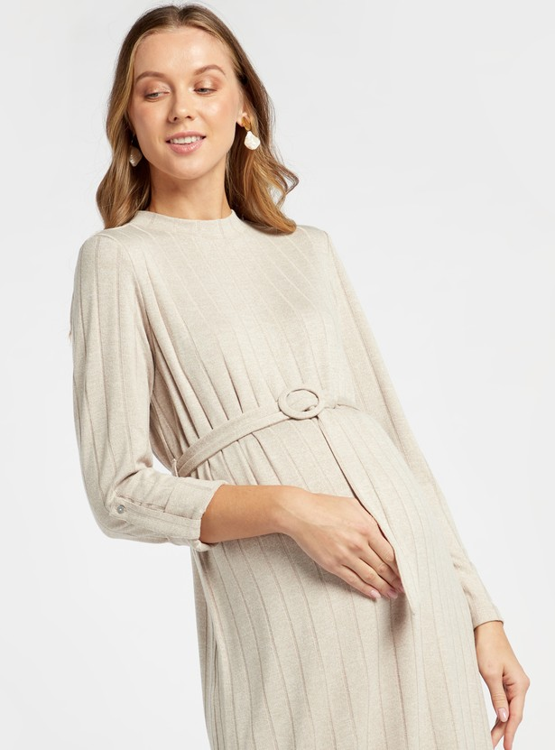 Ribbed Maternity A-line Midi Dress with Long Sleeves and Belt