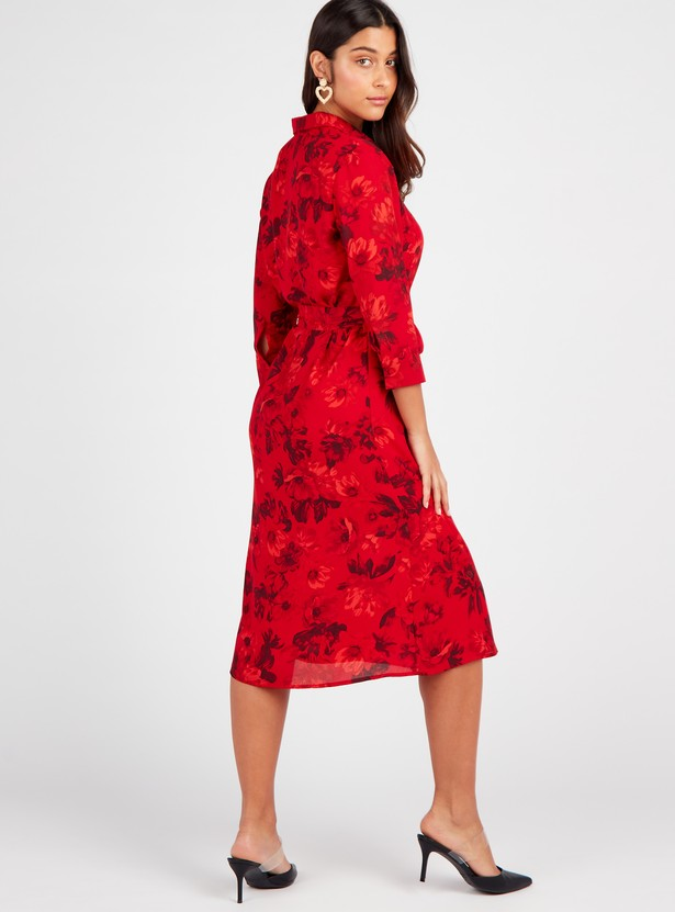 Floral Print A-line Midi Dress with 3/4 Sleeves and Belt