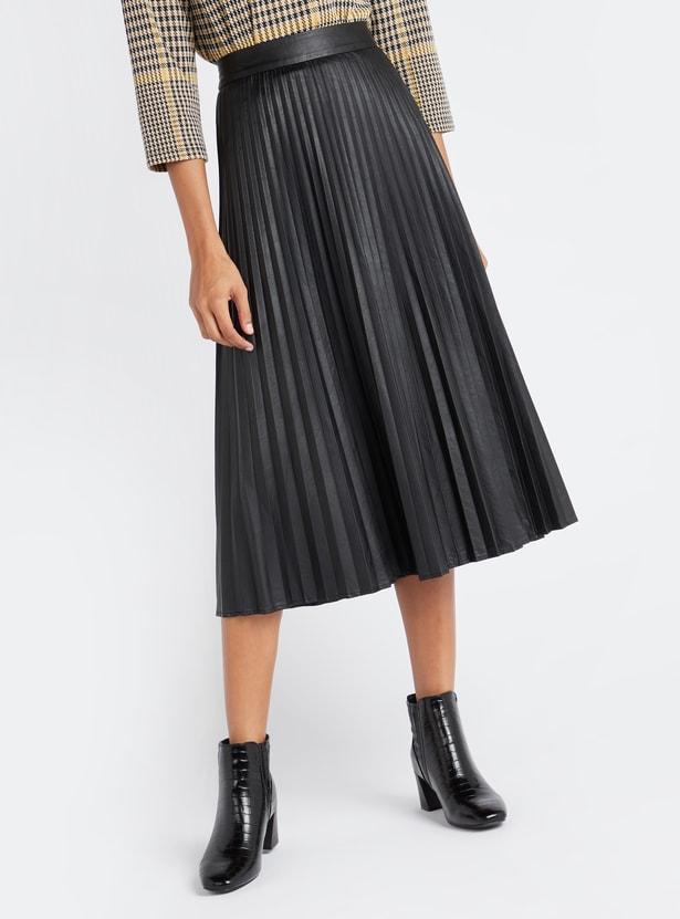 Knife Pleat Midi Skirt with Elasticated Waistband
