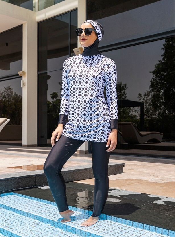 Printed 2-Piece Burkini with Long Sleeves