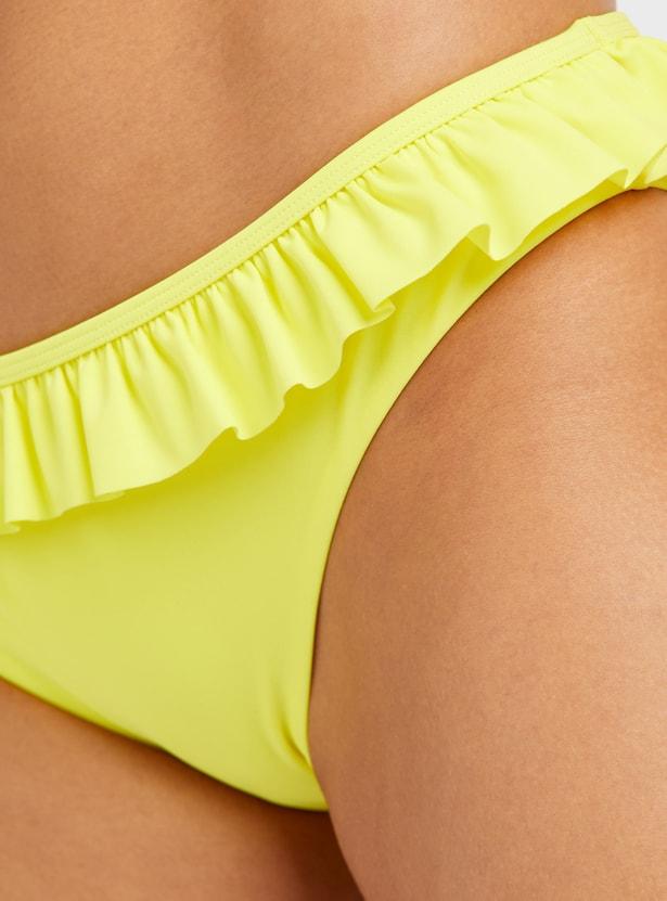 Solid Bikini Briefs with Elasticated Waistband and Ruffle Detail