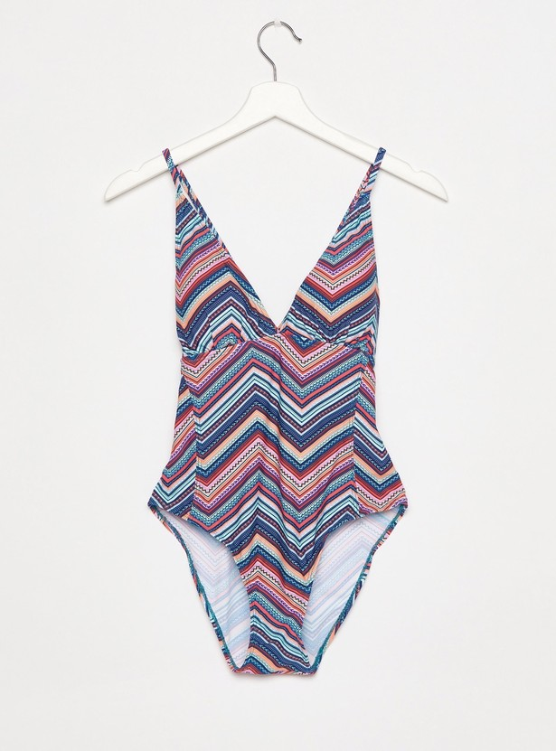 Geometric Print Multi Coloured Halter Neck Swimsuit