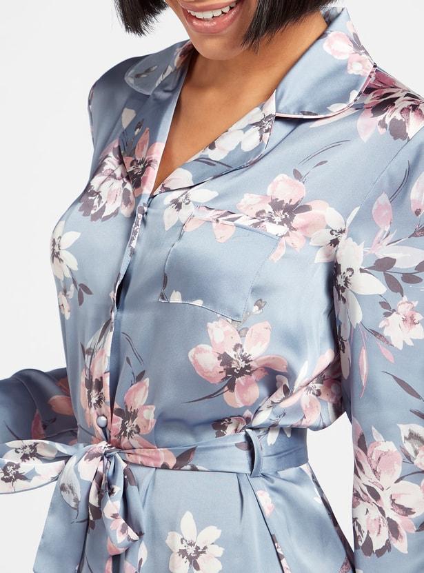 قميص نوم  بأكمام طويلة ورباط وطبعات أزهار