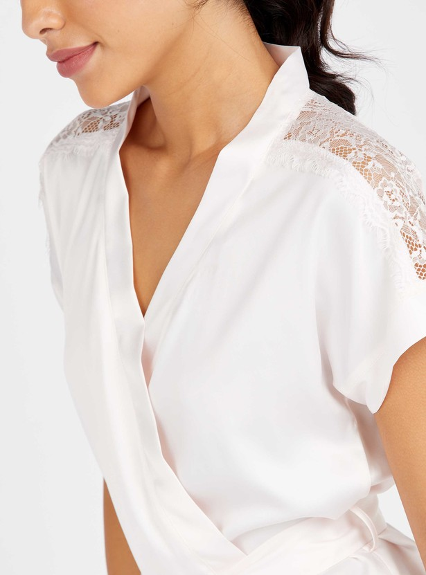 Lace Detail Short Sleeve Top with Full Length Pyjama Set