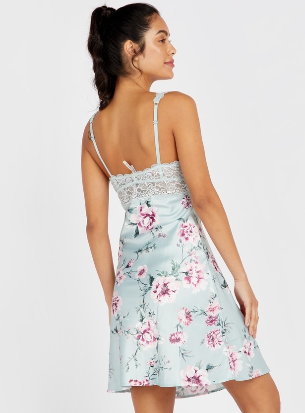 Floral Print Sleeveless Chemise with V-neck and Lace Detail
