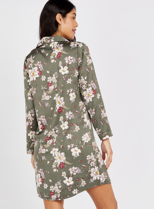 Floral Print Sleepshirt with Long Sleeves and Patch Pocket