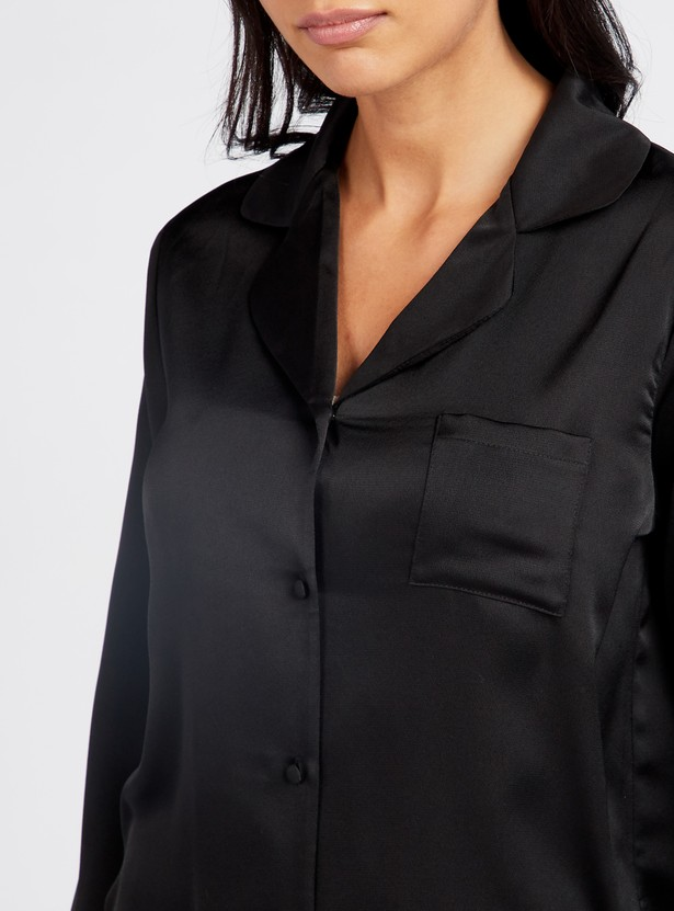قميص نوم سادة بياقة عادية وأكمام طويلة
