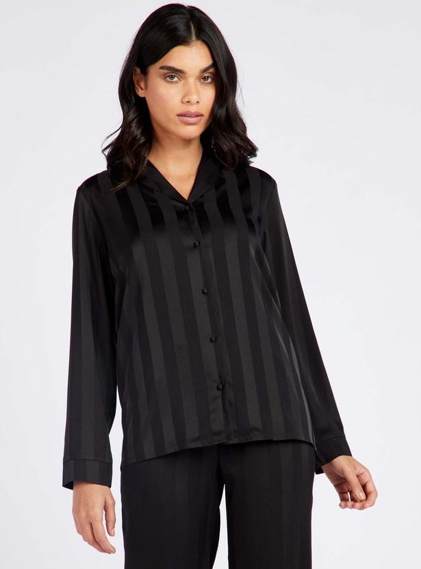 Striped Long Sleeves Shirt and Cropped Pyjama Set