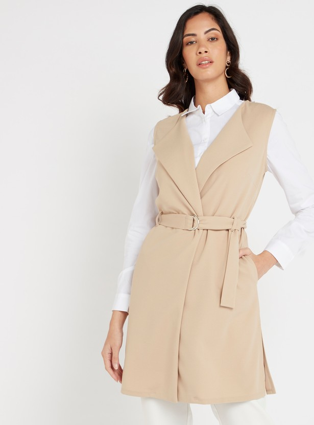 Textured Sleeveless Trench Coat with Belt