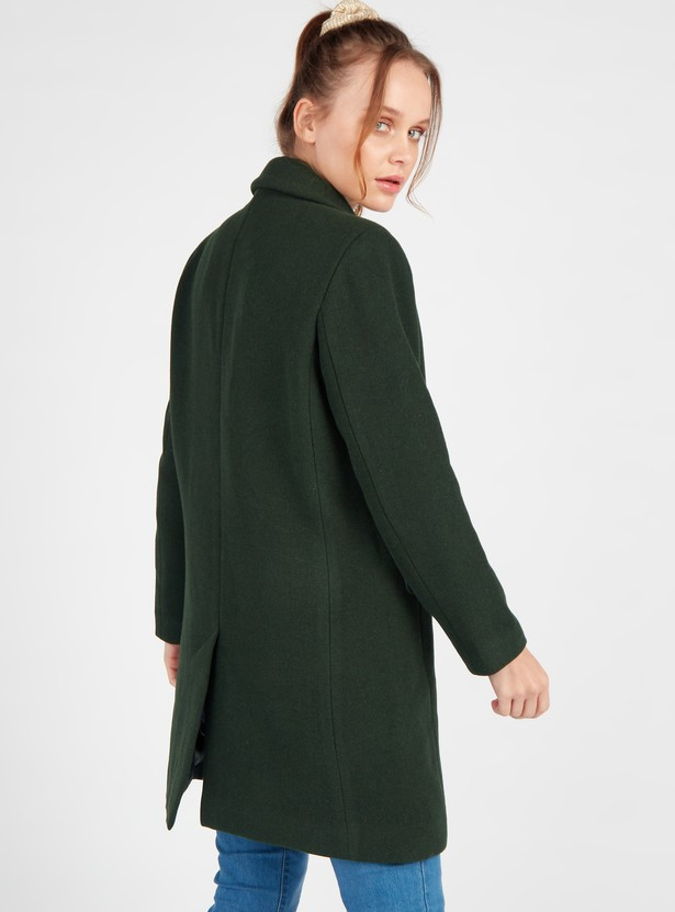 Solid Double Breasted Melton Overcoat with Long Sleeves