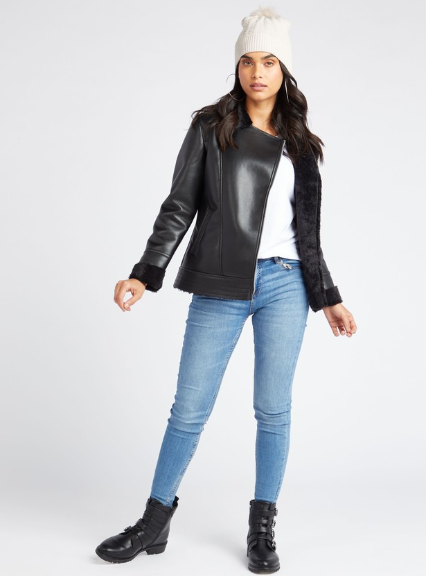 Solid Biker Jacket with Long Sleeves and Asymmetric Zipper