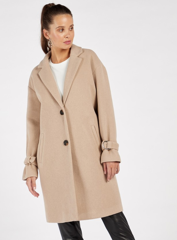 Solid Long Sleeves Jacket with Notch Lapel and Front Button Closure