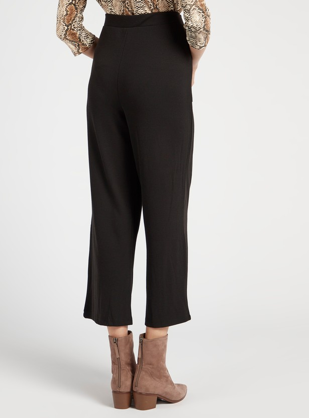 Ankle Length Ribbed Mid-Rise Palazzos with Slip Pockets