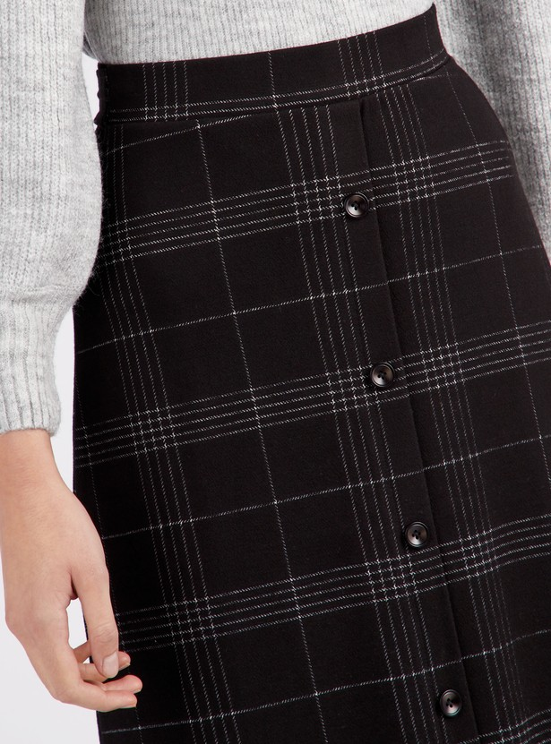 Chequered A-line Midi Skirt with Button Detail